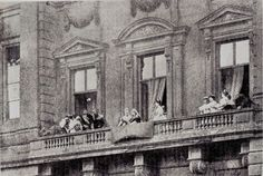 """theimperialcourt: """" Queen Victoria on Buckingham Palace's balcony for George V's wedding to Queen Mary """" Queen Victoria Family, Queen Victoria Prince Albert, Victoria Reign, Victoria And Albert, Daily Queen, Queen Victoria Descendants, Queen Mary, Princess Mary, Queen Victoria"""