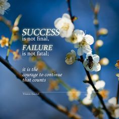 Success is not final Failure is not fatal;  It is the courage to continue that counts