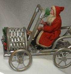 Antique German Santa on Wicker Cart C1910 | eBay