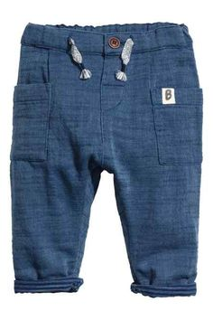 Pull-on pants in soft double-weave slub cotton. Adjustable elasticized waistband with decorative tie, patch front pockets, and fly with Baby Pants, Kids Pants, Baby Outfits, Kids Outfits, Kids Fashion Boy, Baby Kind, Pull On Pants, Boys Shirts, Kids Wear