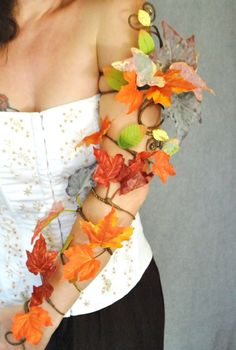 Items similar to Whole arm length brown leaf arm cuff wrap woodland fairy costume on Etsy Autumn colour leaves arm cuff hand cuff slave bracelet tree Woodland Fairy Costume, Faerie Costume, Tree Costume, Costume Halloween, Diy Costumes, Sun And Moon Costume, Autumn Fairy, Slave Bracelet, Flower Plates