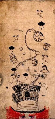 Alice in Wonderland: Mad Hatter (Tim Burton, illustration, Johnny Depp) Lewis Carroll, Disney Tattoos, Arte Disney, Disney Art, Disney Ideas, Glasses Wallpaper, Chesire Cat, Alice Madness Returns, Mad Hatter Tea
