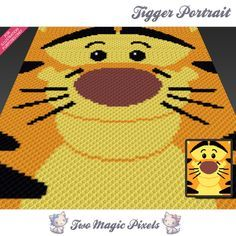 Tigger Portrait crochet blanket pattern; knitting, cross stitch graph; pdf download; Winnie; no written counts or row-by-row instructions by TwoMagicPixels, $2.84 USD