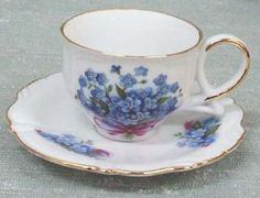 Blue Forget Me Not Demi Tasse Tea Cups