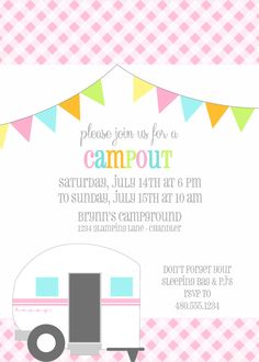 Printable Party  Invitation  Camping Birthday by FreshChickDesigns, $15.00