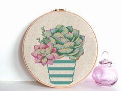 Cactus cross stitch Pattern PDF Modern cross stitch Succulent Floral cross stitch chart Flower Easy cross stitch PDF Instant download