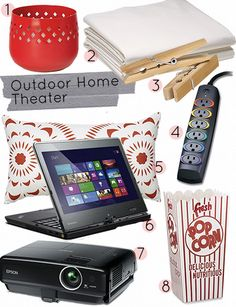 DIY home theater (for those guests that never leave - you know who you are - an outdoor movie in the evening) #designsponge #dssummerparty Backyard Movie Theaters, Backyard Movie Nights, Outdoor Movie Nights, At Home Movie Theater, Home Theater Design, Outdoor Movie Party, Outdoor Fun, Outdoor Ideas, Backyard Ideas