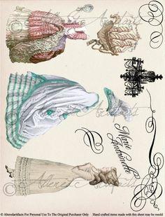 Marie Antoinette Paper Doll Digital Collage Sheet  Download via Etsy