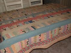 "Large Vintage 1930's Patchwork Quilt Multi-colored - 85"" by 73"""