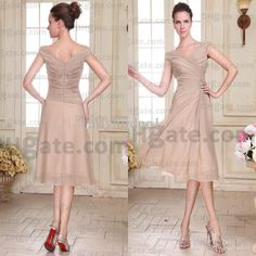 Wholesale 2014 New Fashion Off Shoulder Pleated Beaded Chiffon Knee Length Elegant Vintage Mother Of The Bride Dresses DH9363 (get a purse for free), Free shipping, $72.54/Piece | DHgate Mobile