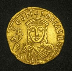 Byzantine Empire Solidus Gold Coin depicting Theophilos, with his father Michael. Byzantine Empire Solidus Gold Coin depicting Theophilos, with his father Michael II and his eldest son Constantine in the reverse, Theophilos Byzantine Gold, Byzantine Jewelry, Gold Bullion Bars, Gold And Silver Coins, Gold Stock, Antique Coins, World Coins, Rare Coins, Coin Collecting