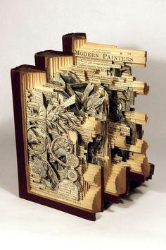 Book art carving sculpture by Brian Dettmer. Paper Book, Paper Art, Cut Paper, Paper Cutting, Altered Books, Altered Art, Brian Dettmer, Art Altéré, Book Art