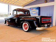 Check out Dave Parish's restored 1957 Chevy 3100 Stepside truck with its Global West front IFS tubular suspension kit, '74 GM 454 and more! - Classic Trucks Magazine