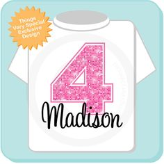 Fourth Birthday Shirt, Pink 4 Birthday Shirt, Any Age Personalized Girls Birthday Shirt Pink Bling Age and Name Tee for kids on Etsy, $14.99