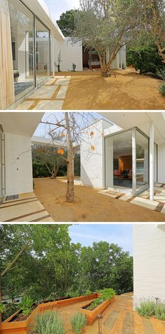 Minimal landscaping makes the surrounding area of this small home easy to maintain. A small vegetable garden in built-in planters has also been included.