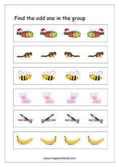 Free General Aptitude Worksheets - Odd One Out Worksheets - MegaWorkbook Preschool Kindergarten, Kindergarten Worksheets, Preschool Activities, Writing Activities For Preschoolers, Alphabet Activities, Free Printable Worksheets, Free Printables, Colourful Semantics, Alphabet Practice Sheets