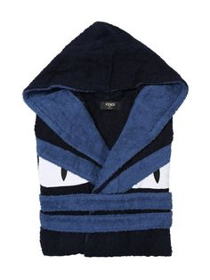FENDI MONSTER COTTON TERRYCLOTH BATHROBE, BLUE.  fendi  cloth  underwear ef5553af681
