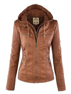 Leather Jacket With Hood, Faux Leather Jackets, Pu Leather, Leather Hoodie, Womens Brown Leather Jacket, Hooded Leather Jacket, Leather Jackets For Women, Leather Collar, Classic Leather