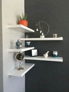 35 Stunning Floating Shelves For Living . - 35 Stunning Floating Shelves For Living Room Decor Ideas – Have you ever tried to install a set o - Room Ideas Bedroom, Home Decor Bedroom, Living Room Decor, Diy Home Decor, Small Bedroom Hacks, Gray Bedroom, Shelf Ideas For Living Room, Simple Home Decoration, Bedroom Wall Designs