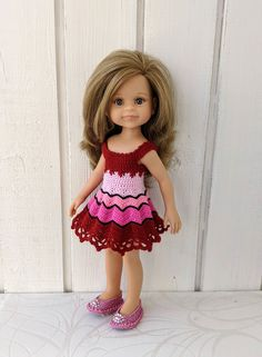 """Clothes for dolls Paola Reina doll 12""""/32 cm crochet dress for doll clothing for doll Barbie Clothes, Barbie Dolls, Doll Shop, Dress With Cardigan, Handmade Dresses, Crochet Cardigan, Dress Making, Curvy, Flower Girl Dresses"""