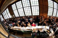 fishbowl view of the Gallery / bar Fishbowl, Toronto Wedding, Real Weddings, Wedding Photos, Bar, Gallery, Round Fish Tank, Marriage Pictures, Fish Tank