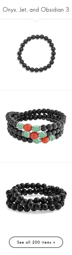 """""""Onyx, Jet, and Obsidian 3"""" by shulabond ❤ liked on Polyvore featuring jewelry, bracelets, black onyx bangle, beading jewelry, beads jewellery, stretch jewelry, beaded jewelry, black, bohemian bangles and bead charms"""