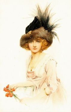 vintage illustration of a young lady in pink, wearing a hat with feathers and holding a red flower