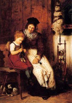 Learning Knitting -- by Rudolf Epp (1834 – 1910, German)
