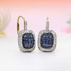 14k Yellow Gold Diamond, Blue Sapphire Leverback Earrings