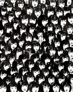 Ninety One Good Chinese Girls, ink on paper riff off an interesting (and strangely unsettling) photo i saw of a swarm of singing, uniform, asian girls.