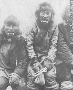 Anthropologists believe that the use of two labret plugs at the corners of the lower lip protected Inuit men while hunting at sea. The labrets seemed to mimic either walrus tusks or the white patches at the sides of killer whales, providing for a spiritual transformation from human to animal that was to aid them in the water.