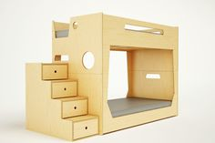 """The LoLo Bunk Bed is our most compact solution, ideal for smaller spaces or  lower ceilings. The stairs, which double as drawers, allow for easy and  safe access to the upper bunk, as well as offer additional storage.  Conveniently, the bunk beds are detachable creating two almost identical  twin beds. When stacked, the lower bunk offers an enclosed """"space"""" which  will easily double as a private reading nook or a theatre stage for  impromptu performances. The top bunk offers a built in side…"""