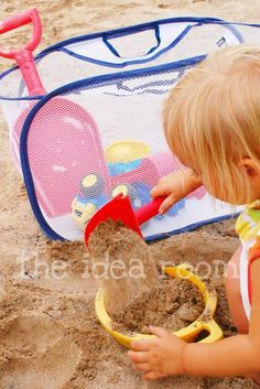 take a small collapsible laundry hamper along to carry toys and help keep sand from getting everywhere
