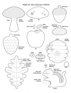 Free Template for Felt Woodland Creatures Pattern - chipmunk, oak leave, acorn, toadstool, apple, pine cone, and beehive