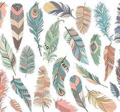 Tribal Feathers Clipart - Set of 31 Vector, PNG & JPG Files - Unique, Beautiful Boho Feather Clip Art in Coral, Navy, Mint and Gold Clip Art Plume, Feather Clip Art, Arrow Feather, Feather Vector, Tribal Feather, Tribal Arrows, Illustrator, Drawing Clipart, Woodland Critters
