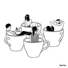 love my people ☕️☕️☕️☕️ 꼭 붙어 있지 않아도 소중한 나의 사람들 Coffee Illustration, Line Illustration, Illustrations, Art Sketches, Art Drawings, Henn Kim, Minimalist Drawing, Minimalist Art, Cafe Logo