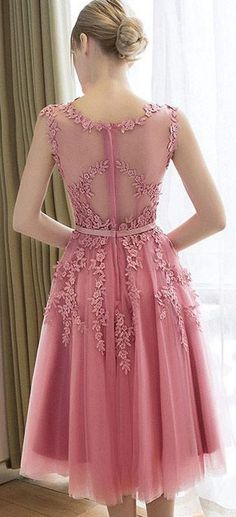 US$96.11-Sweetie Sleeveless Appliqued Pink Short Prom Dress with Illusion Back.  https://www.newadoringdress.com/sleeveless-stuning-new-arrival-1-p331168.html.  Free Shipping! NewAdoringDress.com selected the best prom dresses, party dresses, cocktail dresses, formal dresses, maxi dresses, evening dresses and dresses for teens such as sweet 16, graduation and homecoming. #prom #dress
