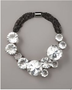 Vera Wang Crystal and Chain Necklace- WOW