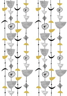 Tulip mobile in Pink Tulip mobile in Ochre + Grey These new pattern were inspired by the work of Textile designer Lucienne Day. Lucienne Day, Textile Patterns, Textile Design, Fabric Design, Print Patterns, Vintage Patterns, Vintage Prints, Stoff Design, Pattern And Decoration