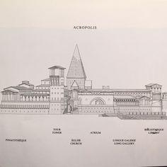 Elevation of the Acropolis in Leon Krier's Utopian city Atlantis, 1988