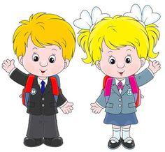 Schoolchildren before a school vector image on VectorStock Animation Schools, School Frame, Girls Clips, Girl Clipart, School Boy, School Children, Clip Art, School Decorations, Autumn Activities