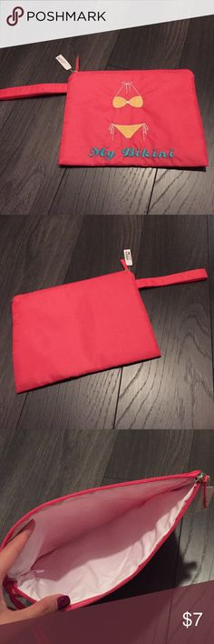 Charming Charlie Bikini Pouch NWT. Hot pink bikini pouch! Great for summer trips. 10.5 by 8 in Charming Charlie Accessories