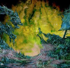 Mammatus Leviathan,Cover art for Mammatus album. Ink and Watercolor. 2005. Arik Roper