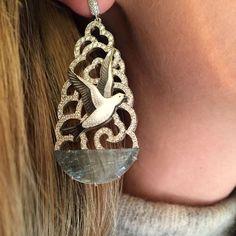 Ilgiz F Winter Forest seagull earrings on model