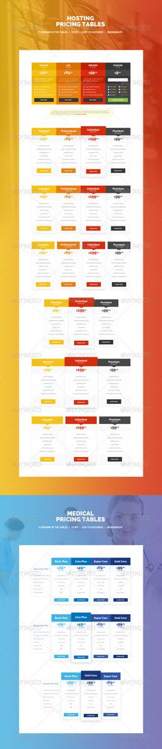 Medical and Hosting Pricing Tables Template PSD. Download here: http://graphicriver.net/item/medical-and-hosting-pricing-tables/8429527?ref=ksioks