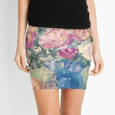 'Frenchy florals ' Mini Skirt by imye Knitted Fabric, Chiffon Tops, Florals, Mini Skirts, Printed, Knitting, Awesome, Products, Art