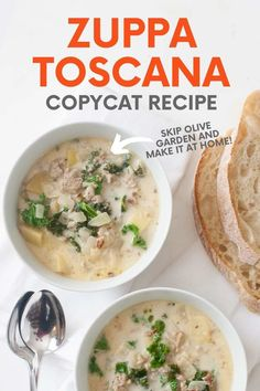 This easy copycat Zuppa Toscana recipe is comforting and delicious! With sausage, kale, and potatoes, it's one of our favorite mid-week meals. Toscana Recipe, Soup Recipes, Healthy Recipes, Delicious Dinner Recipes, Yummy Recipes, Zuppa Toscana, Italian Soup, Bowl Of Soup, Homemade Soup