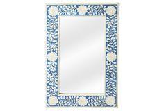 Elisabeth Wall Mirror, Blue/Ivory