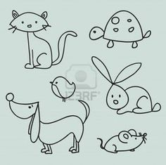 Illustration about Hand drawn cartoon pets, illustration. Illustration of rabbit, drawing, clip - 18441011 Doodle Drawings, Animal Drawings, Easy Drawings, Doodle Art, Animal Sketches, Drawing For Kids, Line Drawing, Art For Kids, Drawing Tips