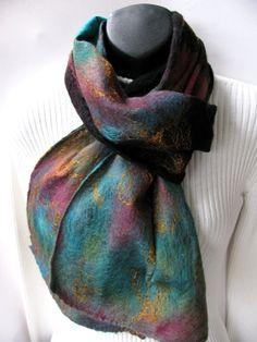 Nuno Felted Scarf -Canyon- Winter Scarf womens scarf womens fashion wool scarf silk scarf long multicolor  nuno felt scarf